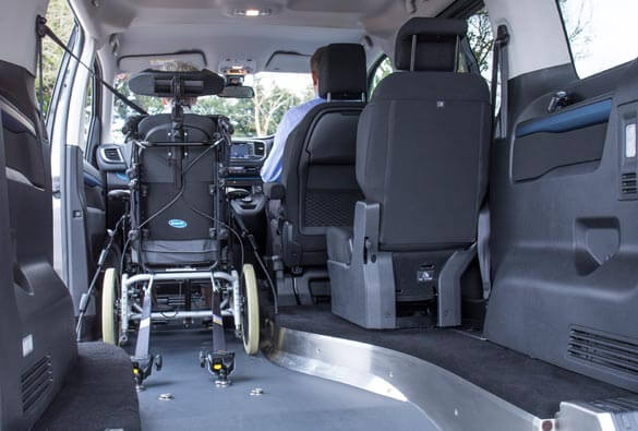 Wheelchair next to driver