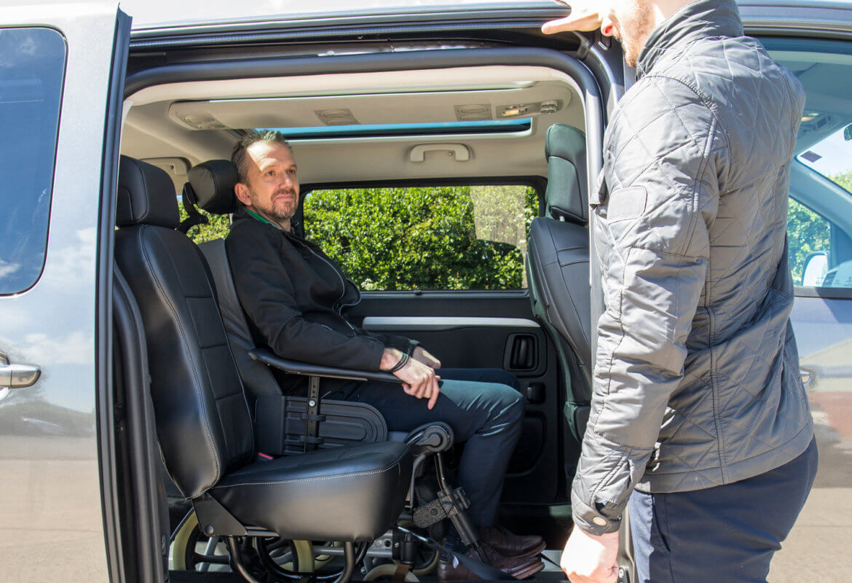 Eyeline for wheelchair user in a WAV